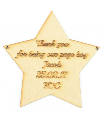 Laser Cut Personalised 'Thank you for being our page boy' Star Sign