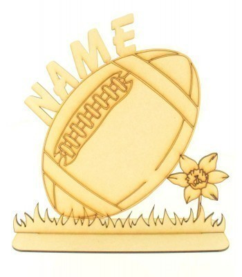 Laser Cut Large Personalised Rugby Ball with a Welsh Daffodil Design on a Stand