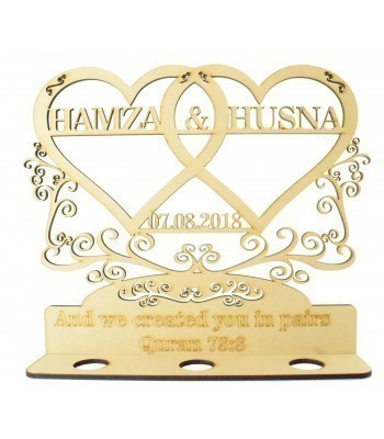 Laser Cut 'And we created you in pairs. Quran 78:8 ' Personalised Double Hearts with Swirl and Flourish Detail - 6mm