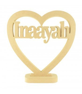 18mm Freestanding MDF Personalised Name In Heart (BT)