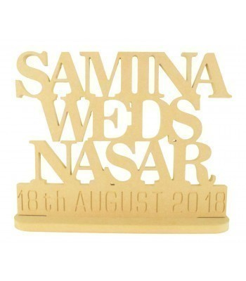 18mm Freestanding MDF Personalised 'Weds' Sign with Names and Date On Stand (BT)