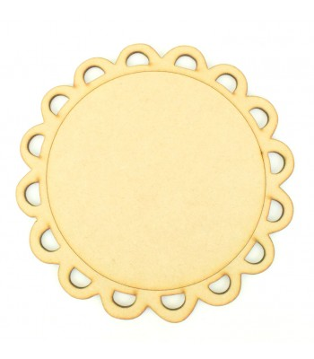 Laser Cut Scalloped Lace Detail Round Plaque