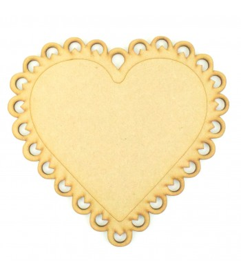 Laser Cut Scalloped Lace Detail Heart Plaque