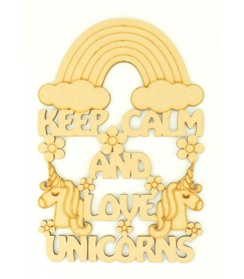 Laser Cut 'Keep Calm and Love Unicorns' Quote Sign