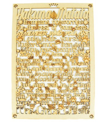 Laser Cut 'Hakuna Matata' The Lion King Long Quote Sign