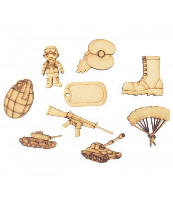 Laser Cut Army Themed Pack of 9 Shapes