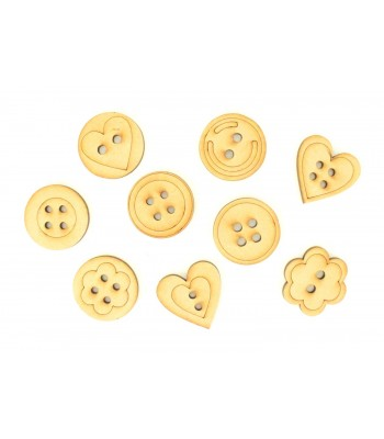 Laser Cut Button Themed Pack of 9 Shapes