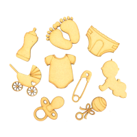 Laser Cut Baby Themed Pack of 9 Shapes