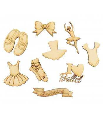 Laser Cut Ballet Themed Pack of 9 Shapes