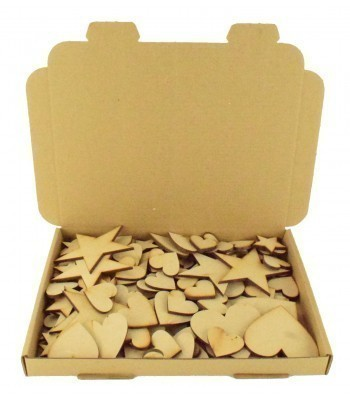 Bargain Box of Mixed Laser cut Stars & Hearts- 3mm