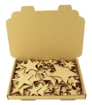 Bargain Box of Mixed Laser cut Plain Stars - 3mm