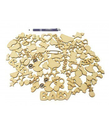 Bargain Box of Mixed Laser cut Baby Themed Shapes