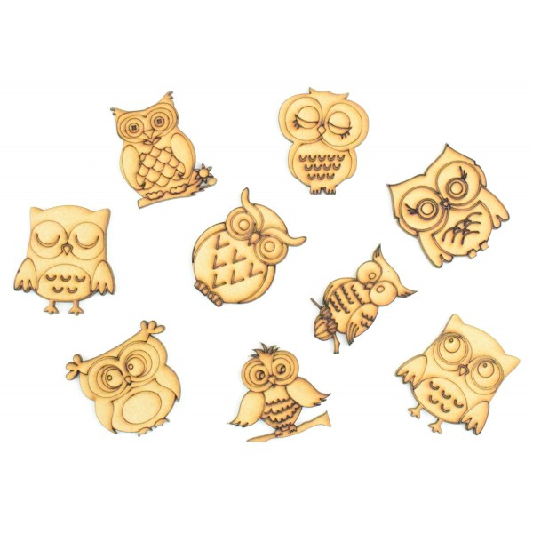 laser cut detailed owl pack of 9 shapes