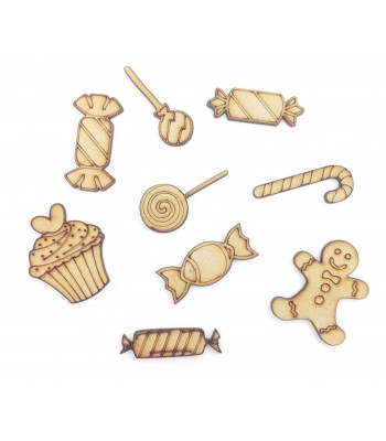 Laser Cut Sweet Treats Themed Pack of 9 Shapes