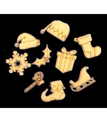 Laser Cut Christmas Themed Pack of 9 Shapes