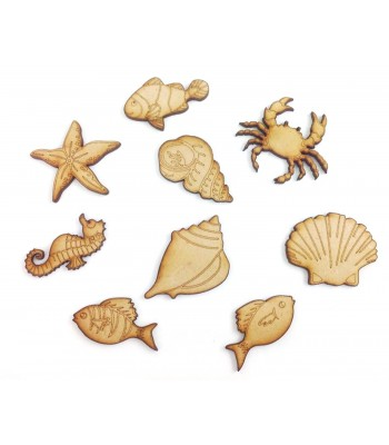 Laser Cut Sea Themed Pack of 9 Shapes