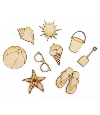Laser Cut Holiday - Beach Themed Pack of 9 Shapes