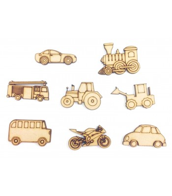 Laser Cut Vehicle Themed Pack of 9 Shapes