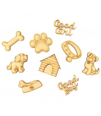 Laser Cut Dog Themed Pack of 9 Shapes