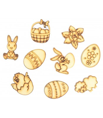 Laser Cut Easter Themed Pack of 9 Shapes