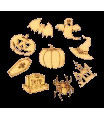 Laser Cut Halloween Themed Pack of 9 Shapes