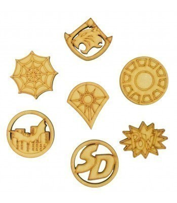 Laser Cut Superhero Themed Pack of 7 Shapes