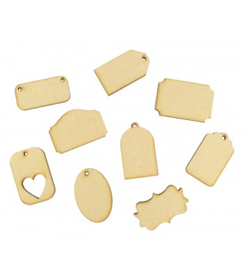 Laser Cut Mini Plaques & Gift Tags Pack of 9 Shapes