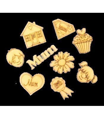 Laser Cut Mothers Day Themed Pack of 9 Shapes
