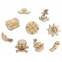 Laser Cut Pirate Themed Pack of 9 Shapes