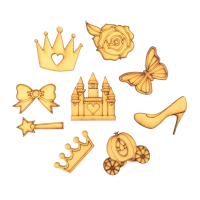 Laser Cut Princess Themed Pack of 9 Shapes