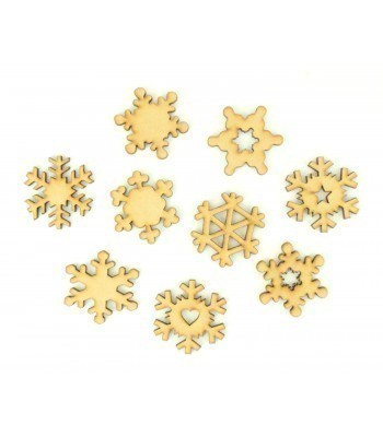 Laser Cut Snowflake Themed Pack of 9 Shapes