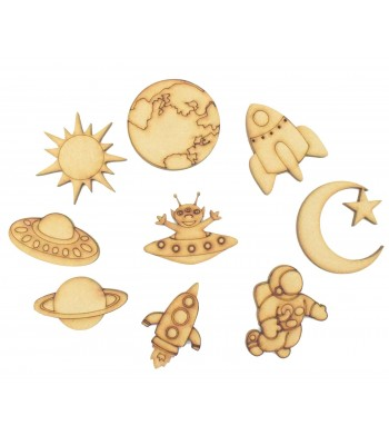 Laser Cut Space Themed Pack of 9 Shapes