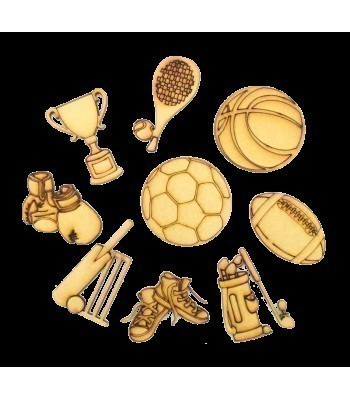 Laser Cut Sports Themed Pack of 9 Shapes