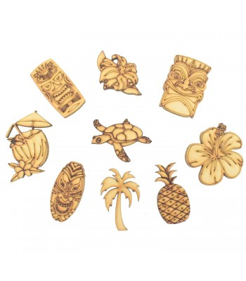 Laser Cut Hawaii Tikki Themed Pack of 9 Shapes