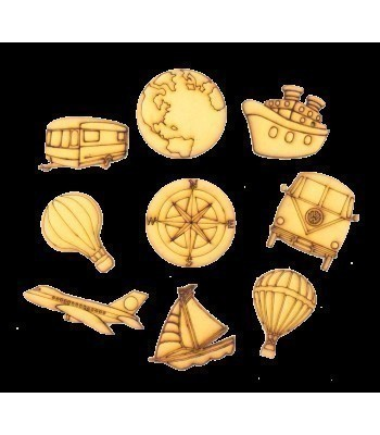 Laser Cut Travel Themed Pack of 9 Shapes
