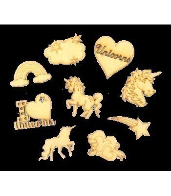 Laser Cut Unicorn Themed Pack of 9 Shapes