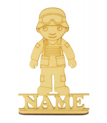 Laser Cut Personalised Army Man Shape on a Stand