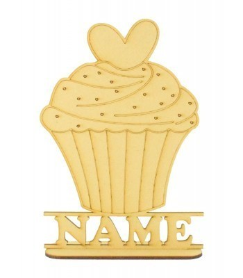 Laser Cut Personalised Cupcake Shape on a Stand