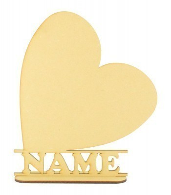 Laser Cut Personalised Heart Shape on a Stand
