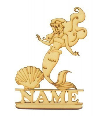 Laser Cut Personalised Mermaid Shape on a Stand