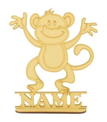 Laser Cut Personalised Cheeky Monkey Shape on a Stand
