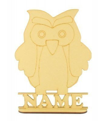 Laser Cut Personalised Owl Shape on a Stand