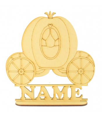Laser Cut Personalised Princess Carriage Shape on a Stand