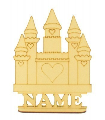 Laser Cut Personalised Princess Castle Shape on a Stand