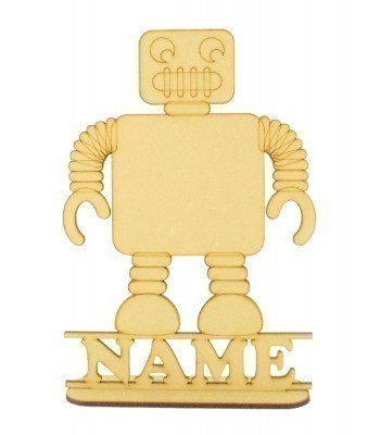 Laser Cut Personalised Robot Shape on a Stand