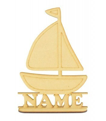 Laser Cut Personalised Sail Boat Shape on a Stand