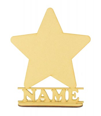 Laser Cut Personalised Star Shape on a Stand