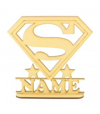 Laser Cut Personalised Superhero Logo Shape on a Stand