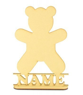 Laser Cut Personalised Teddy Shape on a Stand