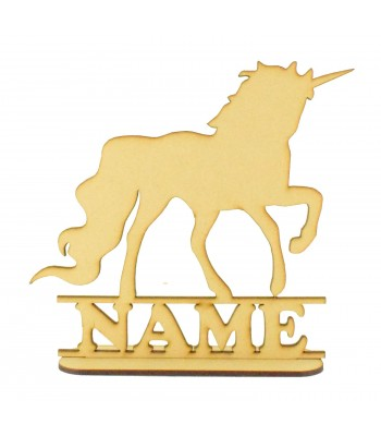 Laser Cut Personalised Unicorn Shape on a Stand